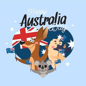 フラットなデザインのオーストラリア日コンセプト