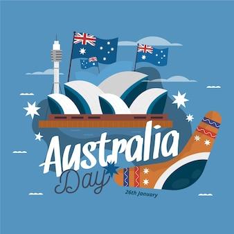 フラットなデザインのオーストラリアの日のテーマ