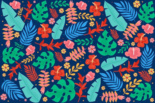 Красочный экзотический цветочный фон