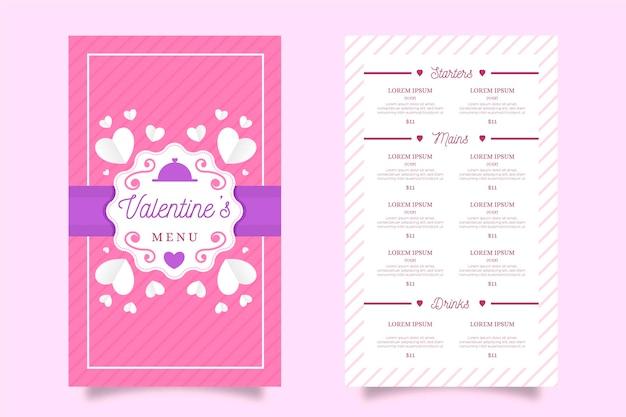 Красочный плоский шаблон меню дня святого валентина