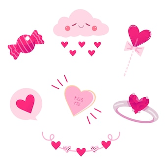 Коллекция элементов дня святого валентина в плоском дизайне с облаком и кольцом