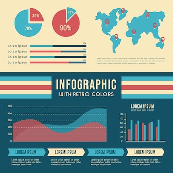 レトロな色と世界地図のインフォグラフィック