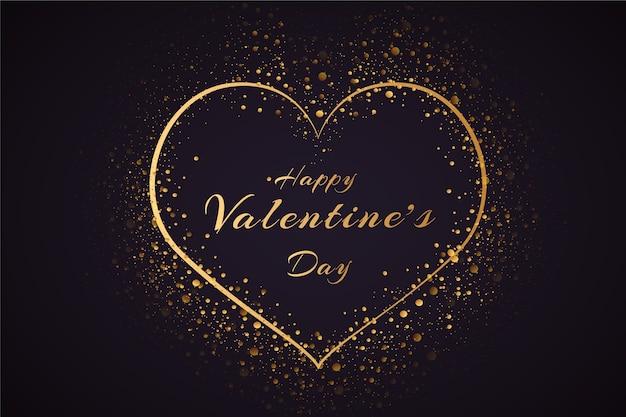 黄金の粒子とバレンタインデーの背景