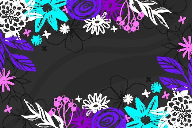 黒板の壁紙に手描きの花