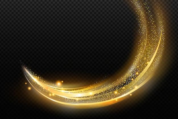 光沢のある黄金の波の透明な背景