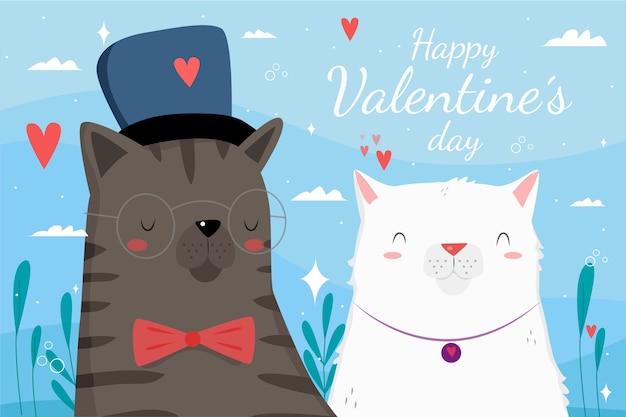 手描きの猫のカップルとバレンタインデーの背景