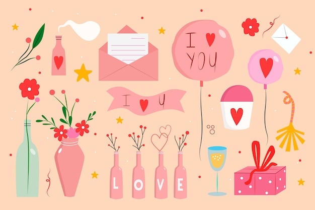 描かれたバレンタインデーの要素のコレクション