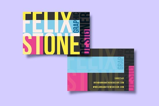 Красочный забавный шаблон визитной карточки графического дизайнера