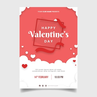 フラットなデザインテンプレートバレンタインパーティーチラシ