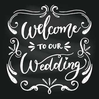 黒板にエレガントな結婚式のレタリング