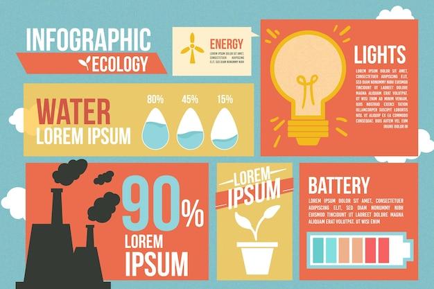 Ретро цветные экологии инфографики