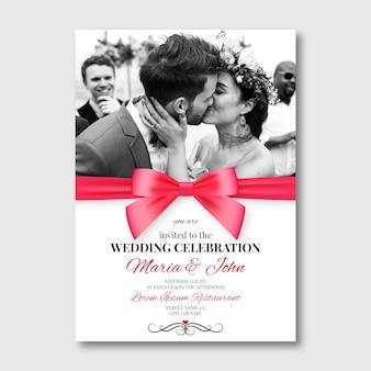 Прекрасный шаблон свадебной открытки с фото