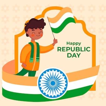 フラットなデザインのインド共和国記念日の壁紙