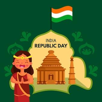 インド共和国記念日のフラットなデザインの背景