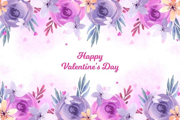 水彩花のバレンタインデーの背景