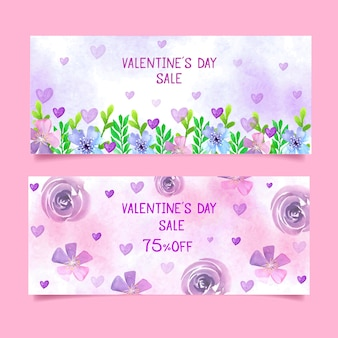 花柄のバレンタインセールバナー