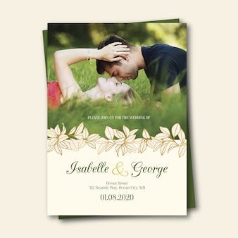 Элегантная свадебная открытка с фото