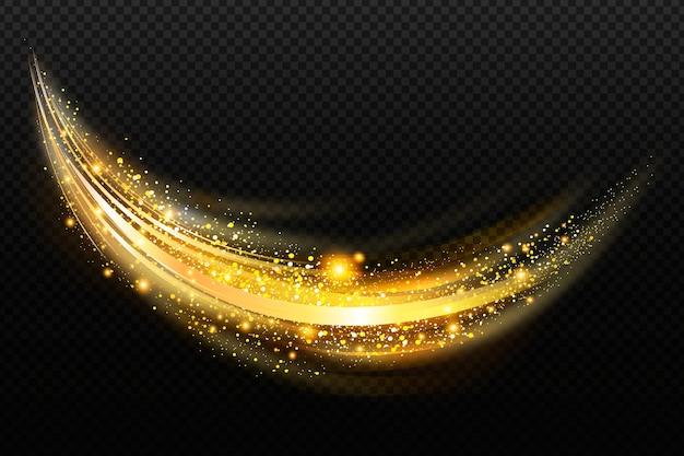 光沢のある黄金の波と透明な背景
