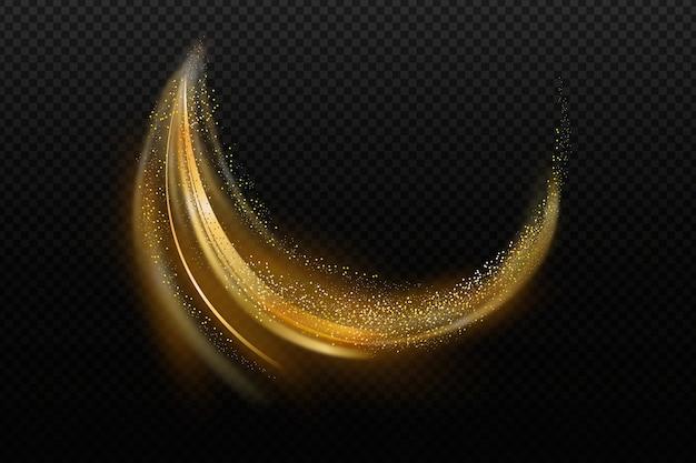 光沢のある黄金の波と透明な壁紙