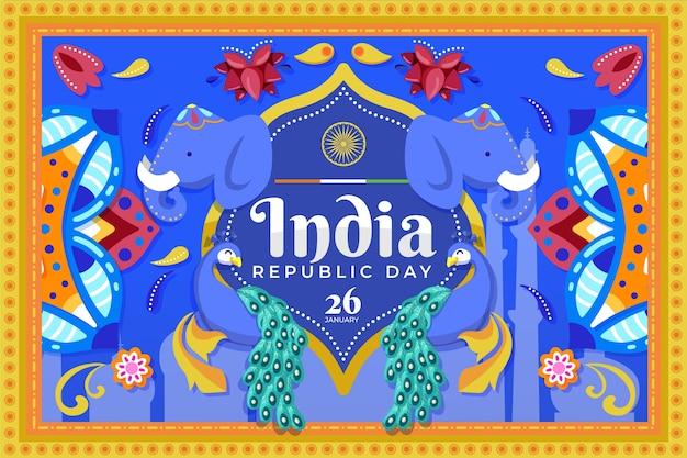 День республики индии в плоском дизайне со слонами