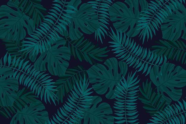 現実的な暗い熱帯の葉の背景