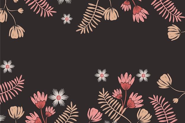 黒板に描かれた花の壁紙