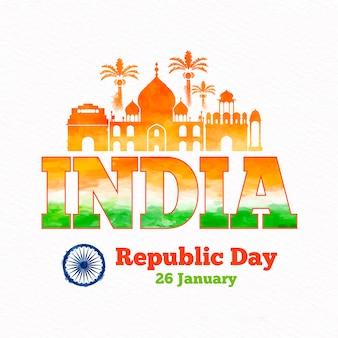 Акварель индийская концепция день республики