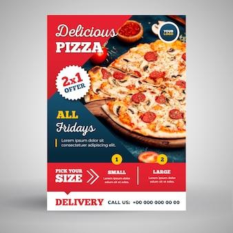 Вкусная пицца флаер шаблон