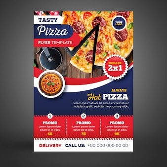 Шаблон флаера для доставки пиццы с рисунком