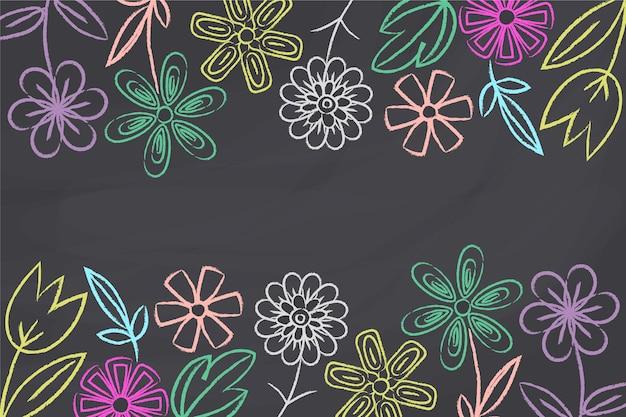 黒板背景の花
