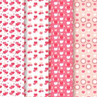 フラットバレンタインデーパターンコレクション