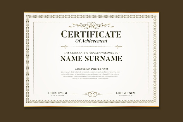Элегантный сертификат с орнаментальной рамкой