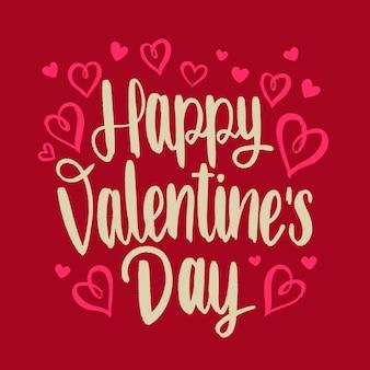 赤の背景に幸せなバレンタインデーのレタリング