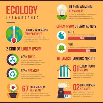 Плоский дизайн экологии инфографики с ретро-цвета