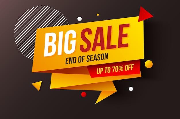 折り紙スタイルのシーズン終了の大きな販売バナー