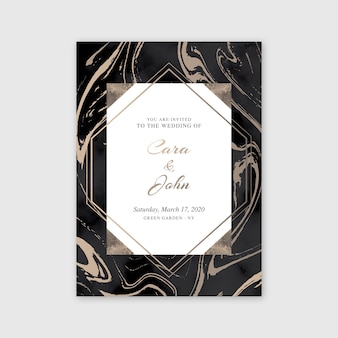 エレガントな大理石の結婚式の招待状のテンプレート