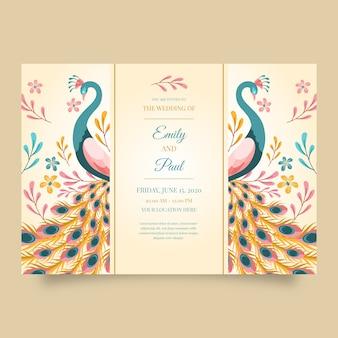 Шаблон свадебного приглашения с павлином