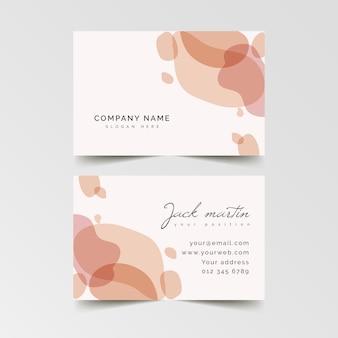 Визитная карточка розовых пятен пастельных тонов