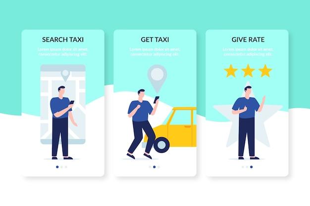 タクシーサービスのオンボーディングアプリ画面の評価者