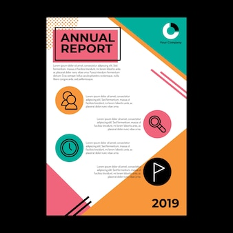 テキストスペースとアイコンを使用した年次レポートのデザイン