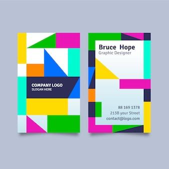 Шаблон визитной карточки геометрические красочные фигуры