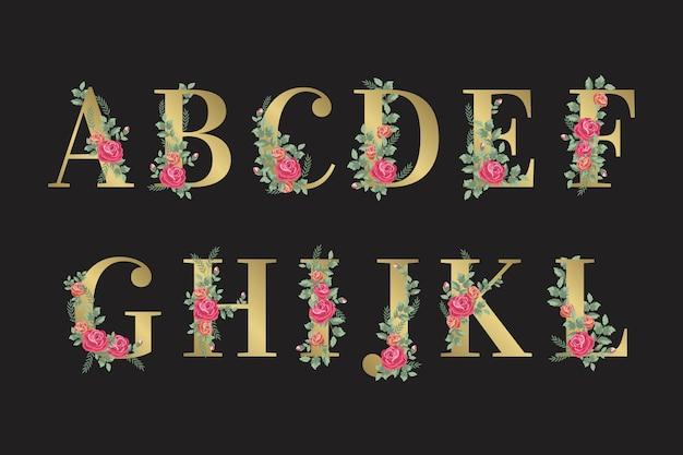エレガントな花と黄金のアルファベット