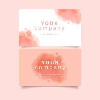 ピンクのパステルカラーの会社名刺テンプレート
