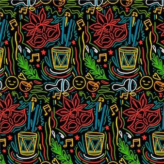 手描きのブラジルのカーニバルパターン