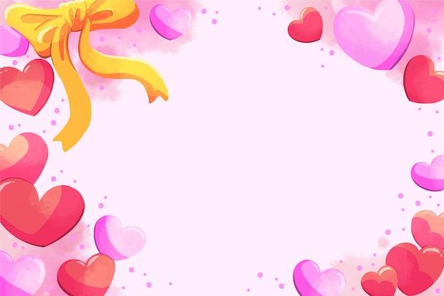 心とゴールデンリボンバレンタイン背景