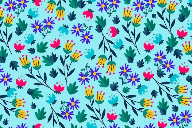 青色の背景に花柄