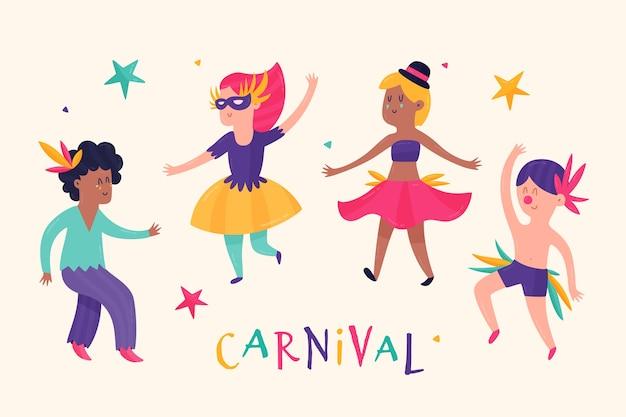 Коллекция красочных карнавальных танцовщиц