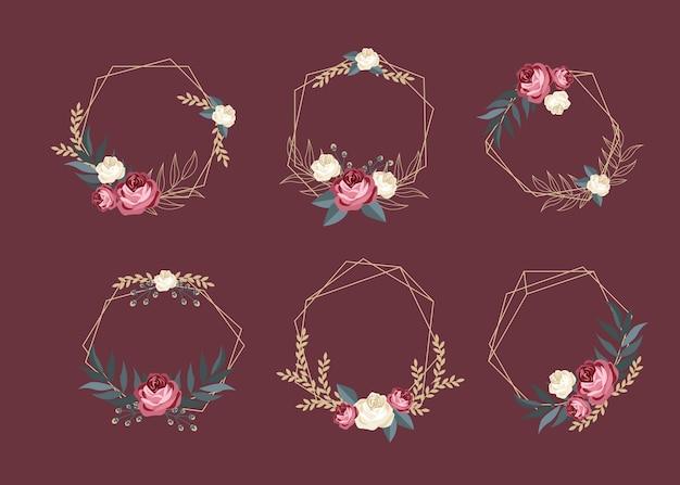エレガントな花セットと黄金の多角形フレーム