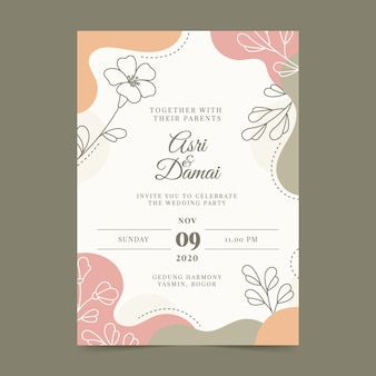 Нарисованное от руки красочное свадебное приглашение