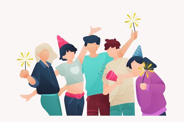 一緒に祝う人々